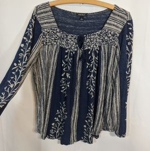 Lucky Brand blue and white boho flowy top